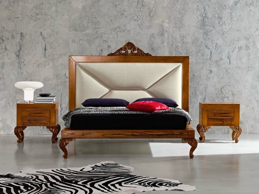 Basic luxury bedroom with padded hardwood headboard - Minimal Baroque Collection - Modenese Gastone