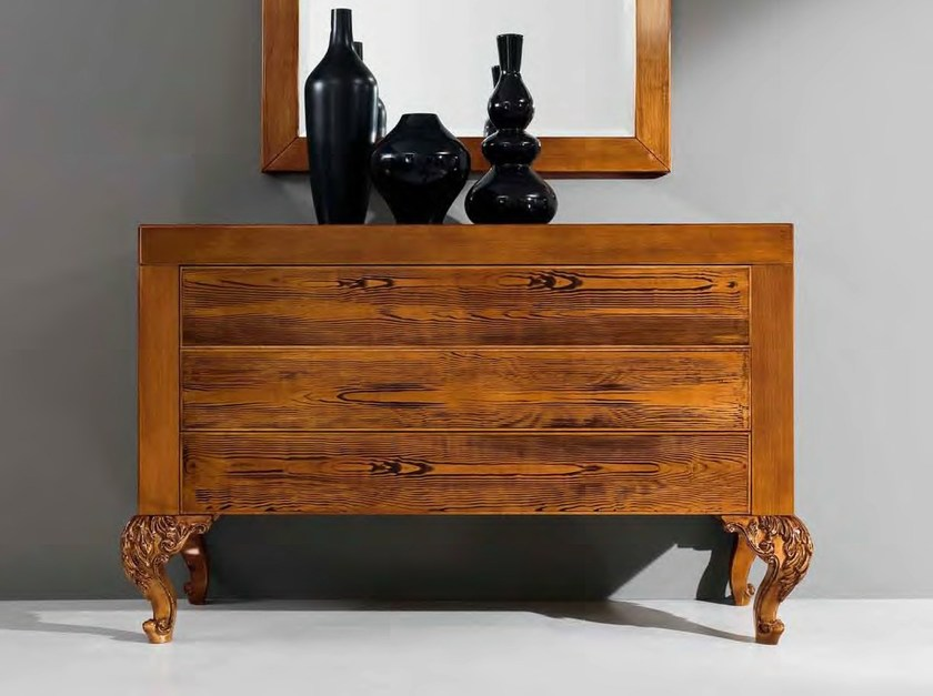 Hardwood walnut laquered carved dresser - Minimal Baroque Collection - Modenese Gastone