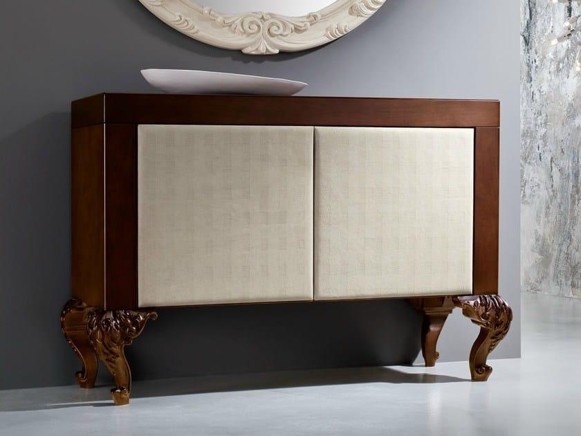 Hardwood walnut sideboard minimalist beige fabric - Minimal Baroque Collection - Modenese Gastone