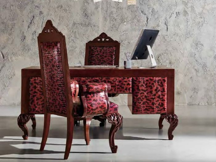 Bespoke desk in red leopard skin and laquered hardwood - Minimal Baroque Collection - Modenese Gastone