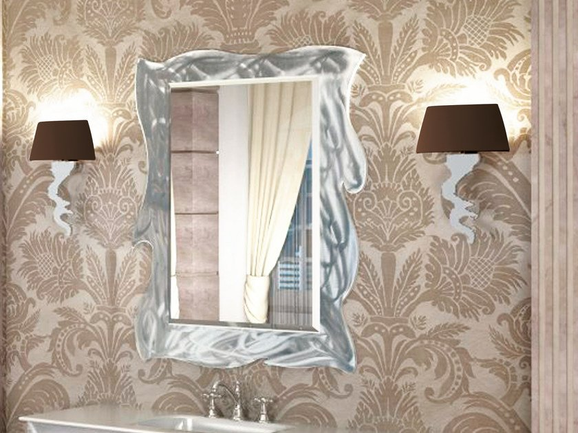 Rectangular wall-mounted framed mirror VERSAILLES | Mirror - LINEAG