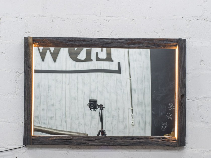 Wall-mounted mirror with integrated lighting SILVA | Mirror with integrated lighting by EDWOOD