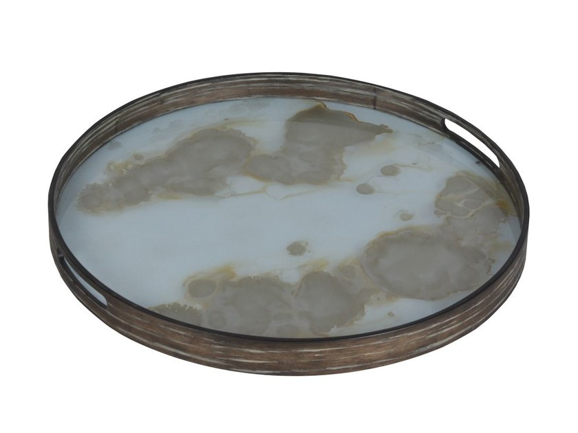 Round wood and glass tray MIST GOLD ORGANIC - Notre Monde