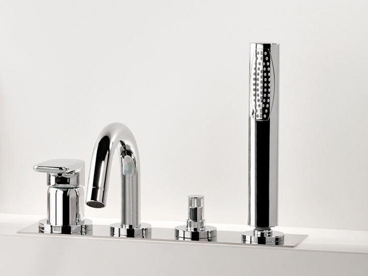 Single handle bathtub set with diverter with hand shower MISTERY | 4 hole bathtub set - RUBINETTERIE RITMONIO