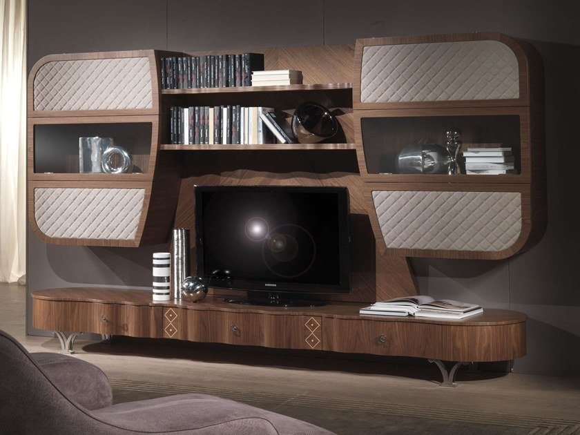 Solid wood TV wall system MISTRAL B - Carpanelli Contemporary