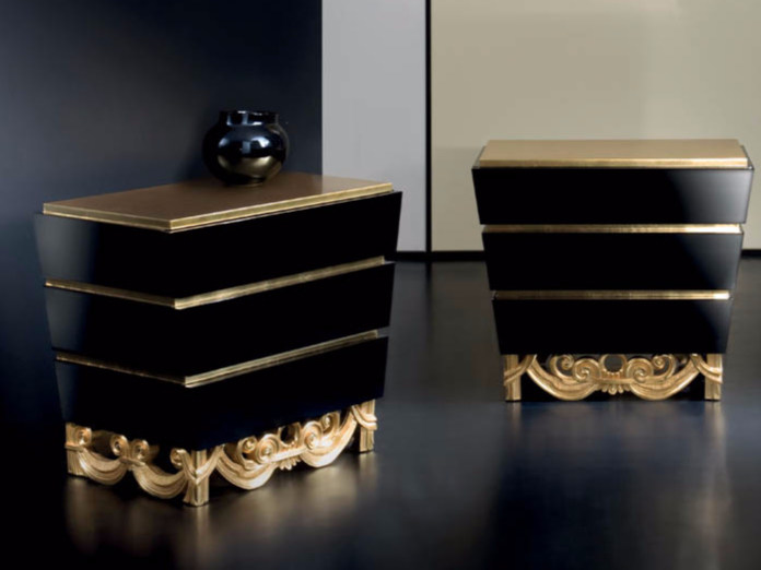 Lacquered rectangular bedside table with drawers MK144 | Bedside table - Rozzoni Mobili d'Arte