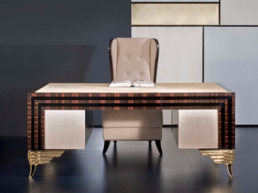 Rectangular leather writing desk with drawers MK157 | Writing desk by Rozzoni