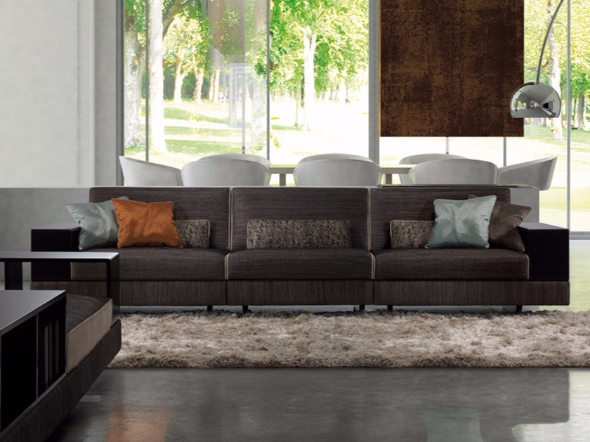 Modular fabric sofa with integrated magazine rack MOAT | Sofa by Borzalino
