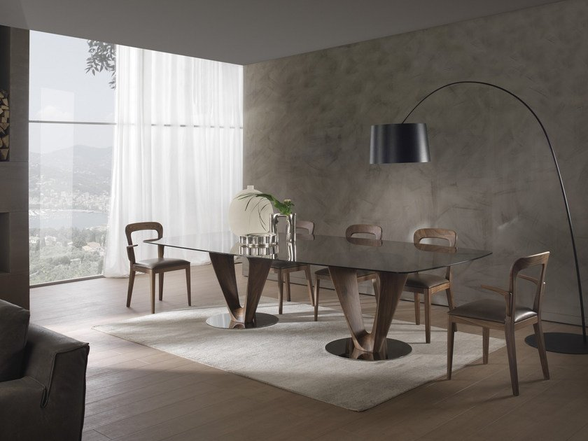 Rectangular wood and glass table MOBIUS | Rectangular table - Pacini & Cappellini