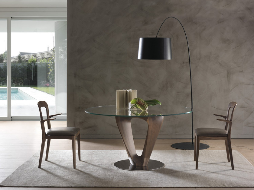 Wood and glass table MOBIUS | Round table by Pacini & Cappellini