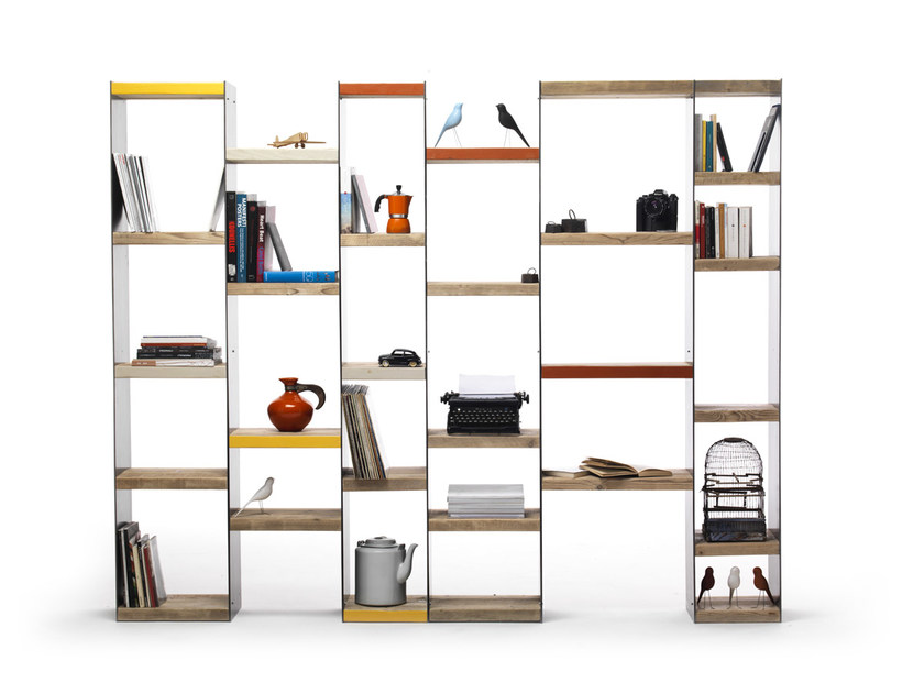 Open double-sided sectional spruce bookcase MOBY by Vontree