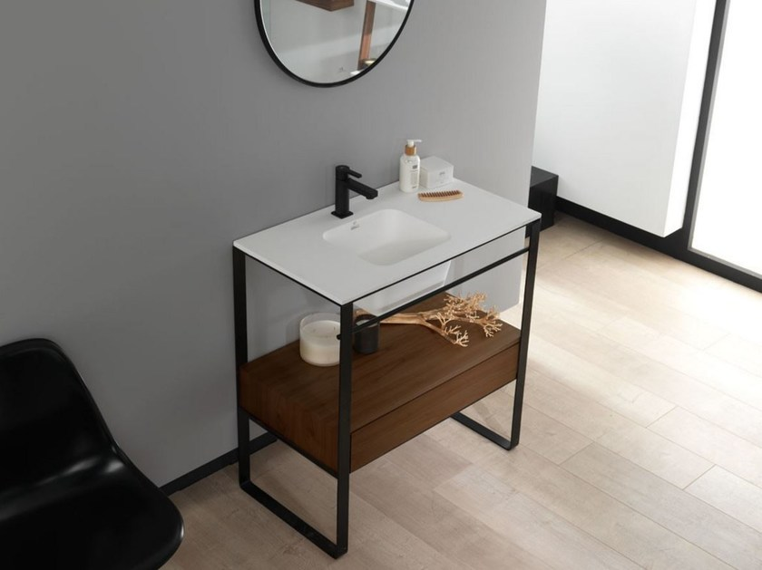 Console Krion® washbasin with integrated countertop MODUL | Console washbasin - Systempool