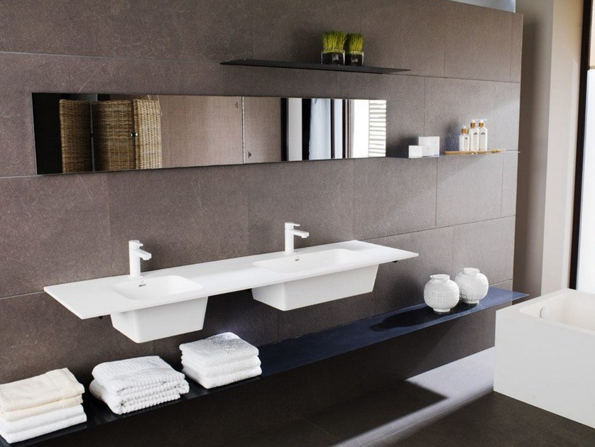 Double wall-mounted Krion® washbasin MODUL | Double washbasin - Systempool