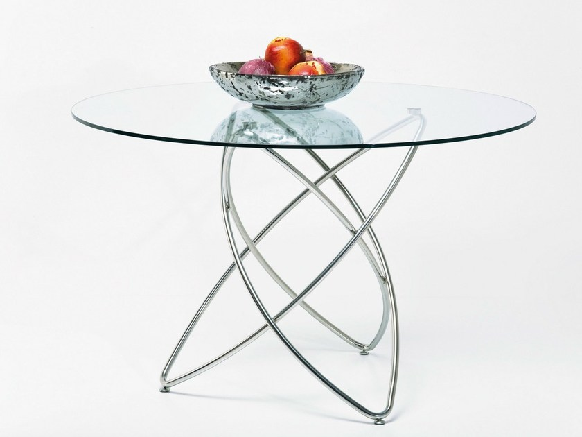 Round Glass and Stainless Steel table MOLEKULAR - KARE-DESIGN