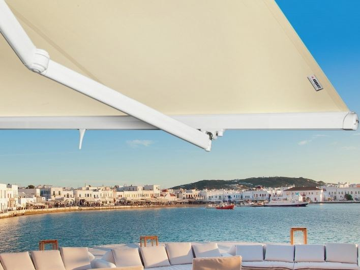 Motorized fabric Folding arm awning MONACO VARIANT by Arquati Service