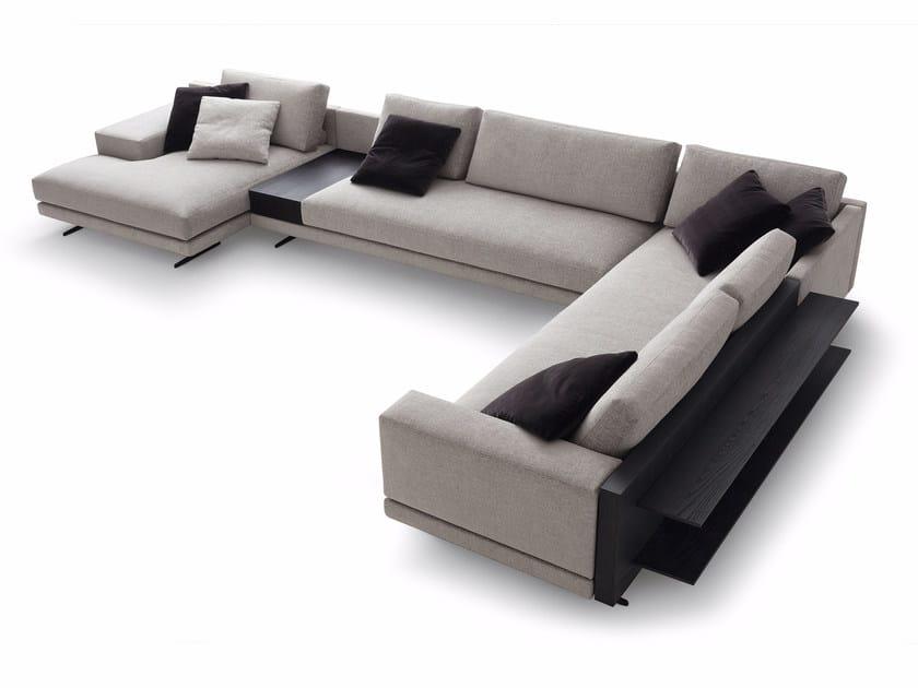 Corner upholstered fabric sofa with chaise longue MONDRIAN | Corner sofa - Poliform