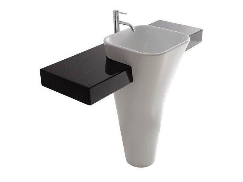 Ceramic washbasin with integrated countertop MONOLITE | Washbasin with integrated countertop - GALASSIA