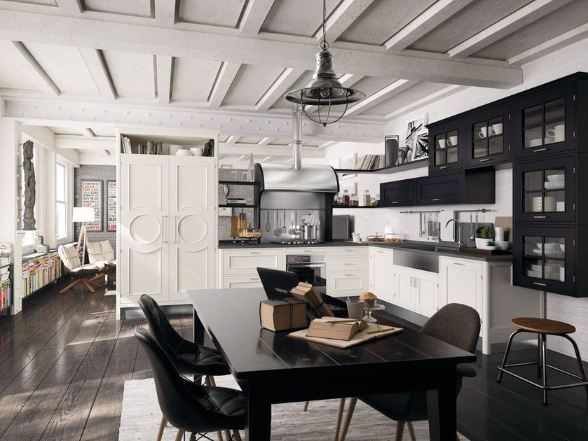 Fitted wood kitchen MONTSERRAT - COMPOSITION 04 by Marchi Cucine