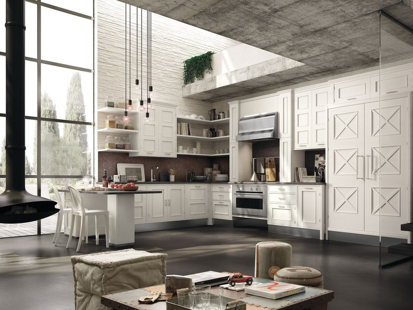 Fitted wood kitchen MONTSERRAT - COMPOSITION 05 - Marchi Cucine