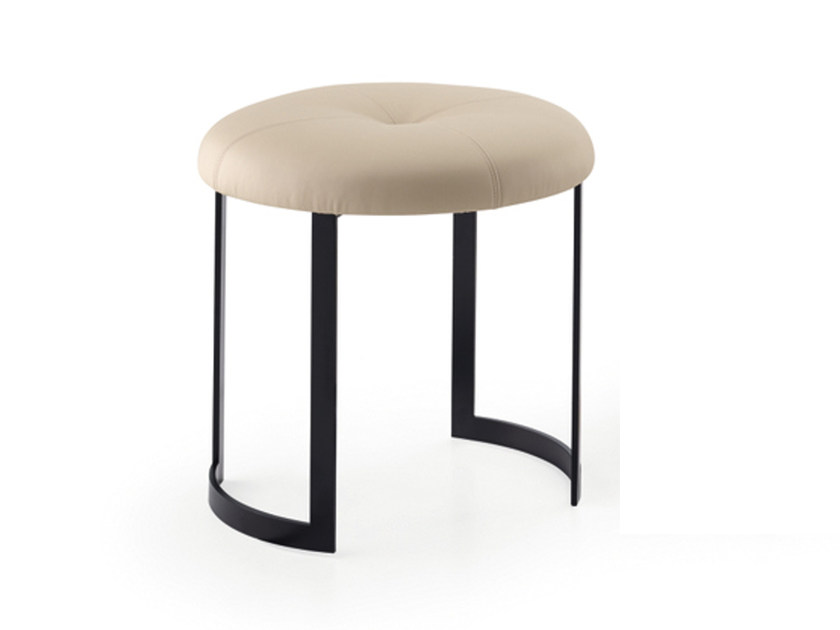 Low leather stool MOON | Leather stool by HMD INTERIORS
