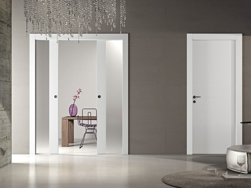 Wood and glass pocket sliding door MS | Pocket sliding door - Pail Serramenti