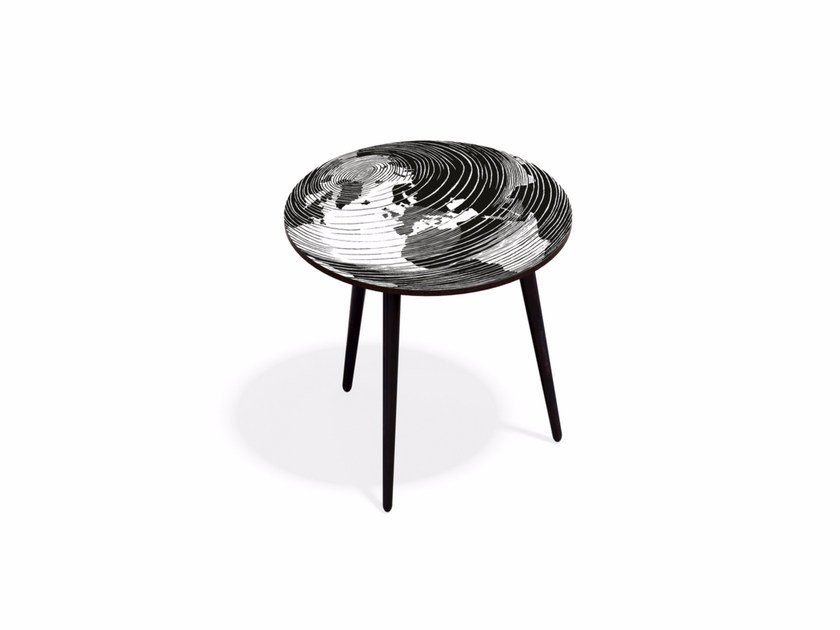 Round beech wood and HPL coffee table MUNDO M40 - Bazartherapy