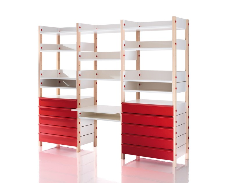 Sectional kids bookcase with drawers MY STORAGE - Magis