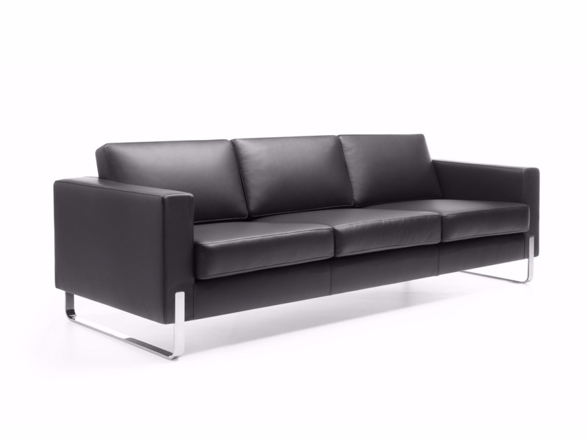Sled base 3 seater leather sofa MYTURN 30V - profim