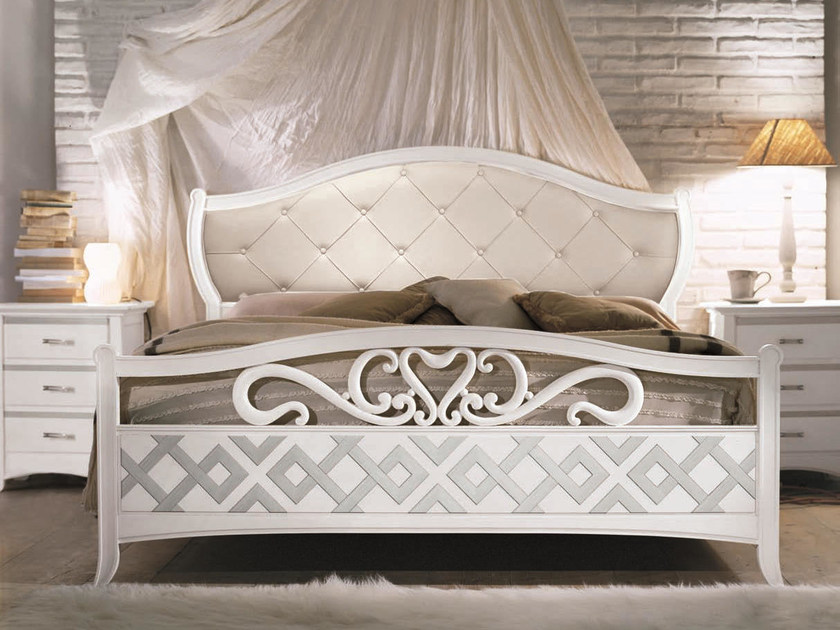 Solid wood bed with tufted headboard NAIMA | Lacquered bed by Arvestyle