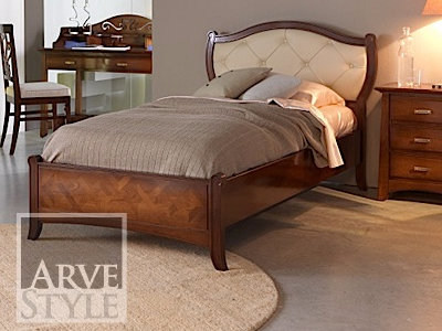 Single bed with tufted headboard NAIMA | Bed with upholstered headboard - Arvestyle