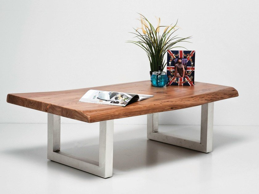 Rectangular steel and wood coffee table NATURE LINE | Coffee table - KARE-DESIGN