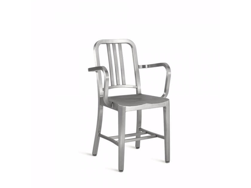 Aluminium chair with armrests 1006 NAVY® | Chair with armrests - Emeco