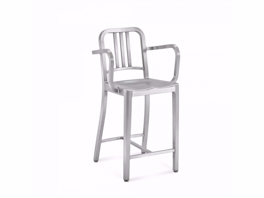 Aluminium counter stool with armrests 1006 NAVY® | Counter stool - Emeco