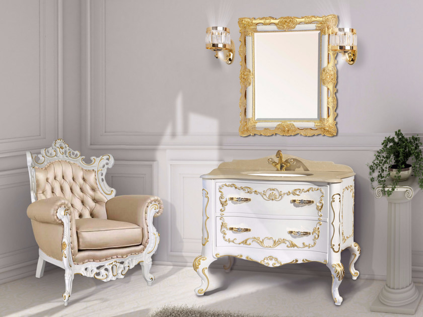 Lacquered vanity unit with drawers with mirror NAXOS CM01NA - LA BUSSOLA