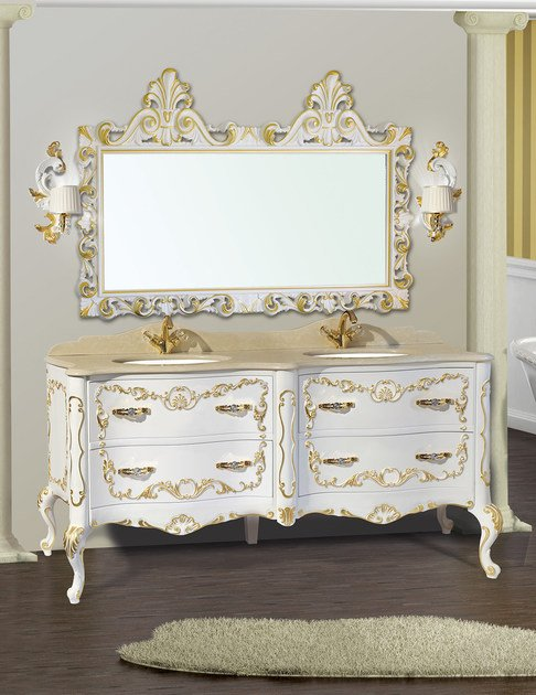 Double vanity unit with drawers with mirror NAXOS CM02NA - LA BUSSOLA