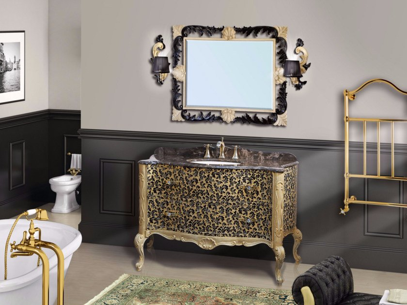 Lacquered vanity unit with drawers with mirror NAXOS CM05NA - LA BUSSOLA