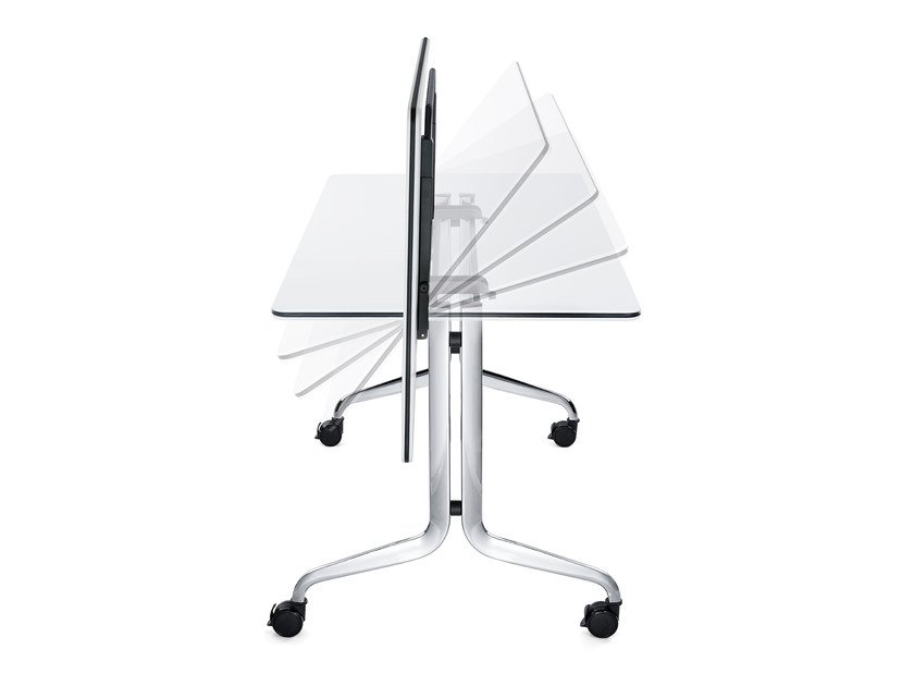 Drop-leaf HPL table with casters NESTY IS3 N5012 by Interstuhl
