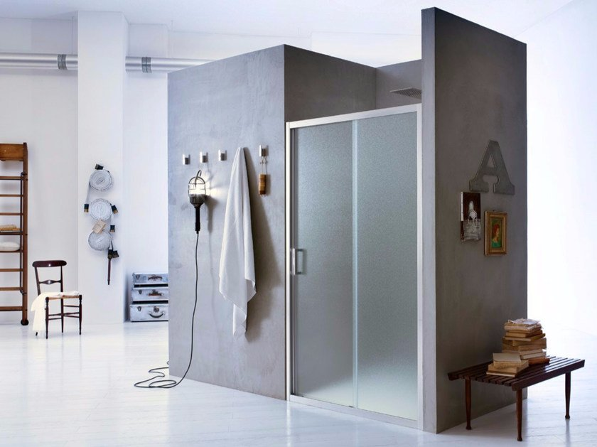 Niche glass shower cabin with sliding door NEW CLAIRE - 2 - INDA®
