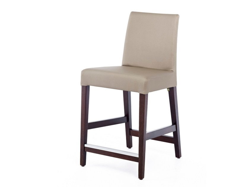 Upholstered leather counter stool with footrest NEW GALA KL 62 - Z-Editions