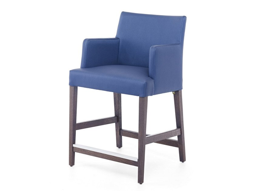 Leather counter stool with armrests with footrest NEW GALA LOUNGE KL 62 - Z-Editions
