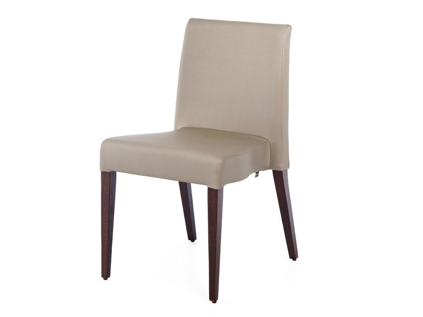 Upholstered stackable leather chair NEW GALA ST - Z-Editions