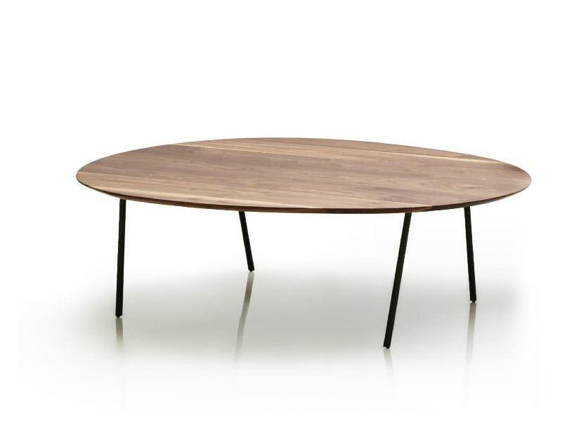 Low oval walnut coffee table NEWTON | Low coffee table by Papadatos