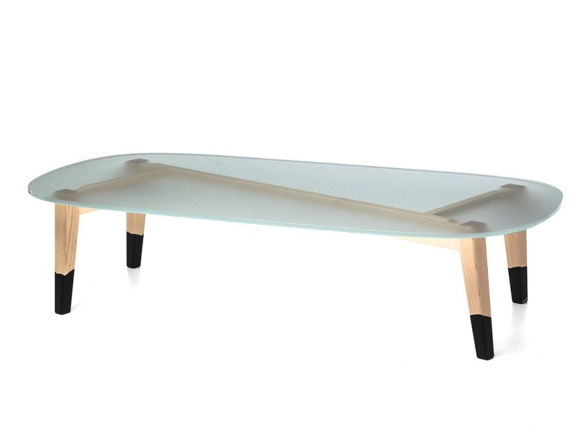 Low rectangular tempered glass coffee table NEXT 47 - Gervasoni