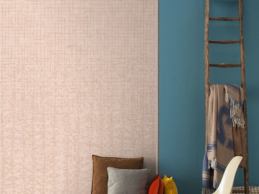 Motif wallpaper with textile effect NICANDRO - Inkiostro Bianco