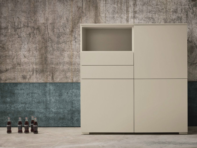 Lacquered highboard with doors with drawers NIGHT | Lacquered highboard by Dall'Agnese