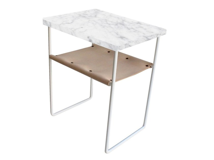 Sled base rectangular Carrara marble coffee table NILES | Carrara marble coffee table - Evie Group