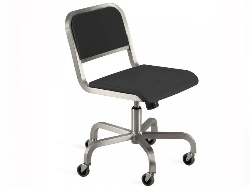 Swivel aluminium chair with casters NINE-O™ | Chair with casters - Emeco