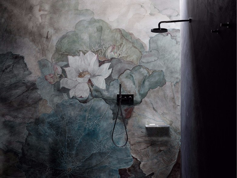Waterproof glass-fibre wallpaper with floral pattern NIVEUM - Wall&decò