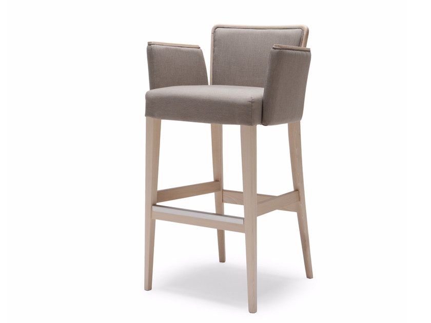Upholstered fabric counter stool with armrests NOB 227 - Origins 1971