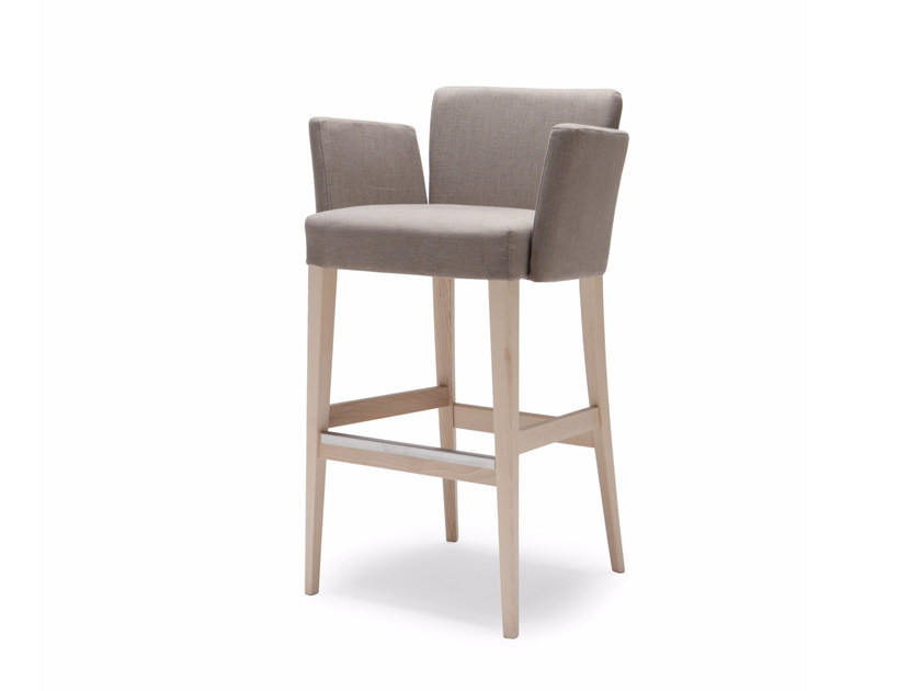 Upholstered fabric counter stool with armrests NOBLESSE 210 - Origins 1971